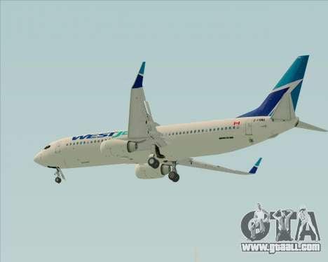 Boeing 737-800 WestJet Airlines for GTA San Andreas inner view