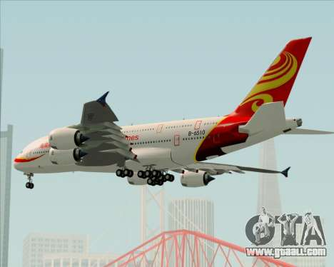 Airbus A380-800 Hainan Airlines for GTA San Andreas upper view