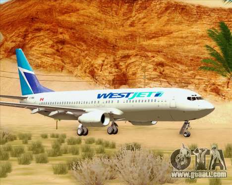 Boeing 737-800 WestJet Airlines for GTA San Andreas left view