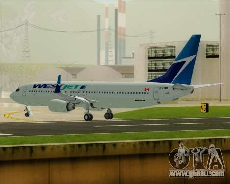 Boeing 737-800 WestJet Airlines for GTA San Andreas bottom view