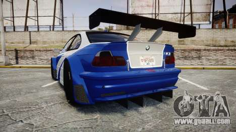 BMW M3 E46 GTR Most Wanted plate NFS MW for GTA 4 back left view