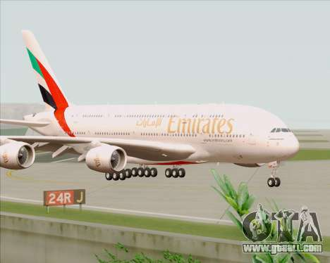 Airbus A380-800 Emirates 40 Anniversary Sticker for GTA San Andreas back left view