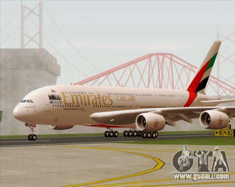 Airbus A380-800 Emirates 40 Anniversary Sticker for GTA San Andreas inner view