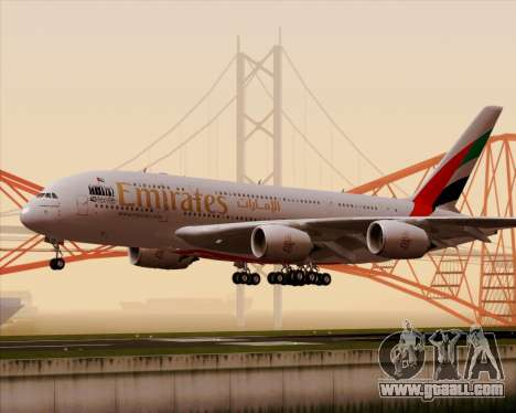 Airbus A380-800 Emirates 40 Anniversary Sticker for GTA San Andreas left view