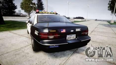 Chevrolet Caprice 1991 LAPD [ELS] Traffic for GTA 4 back left view