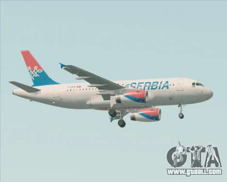 Airbus A319-100 Air Serbia for GTA San Andreas right view