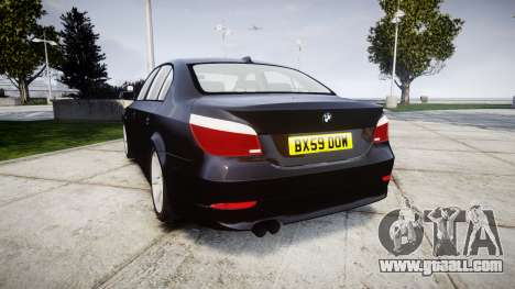 BMW 525d E60 2009 Police [ELS] Unmarked for GTA 4 back left view