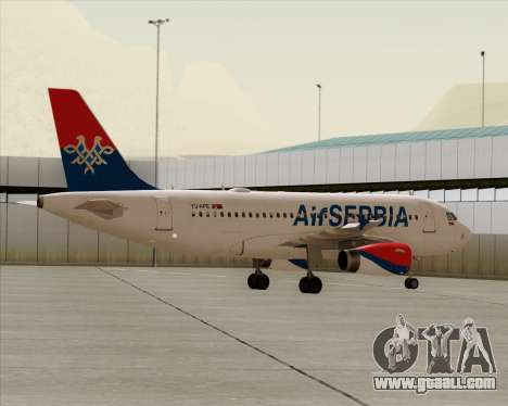 Airbus A319-100 Air Serbia for GTA San Andreas bottom view