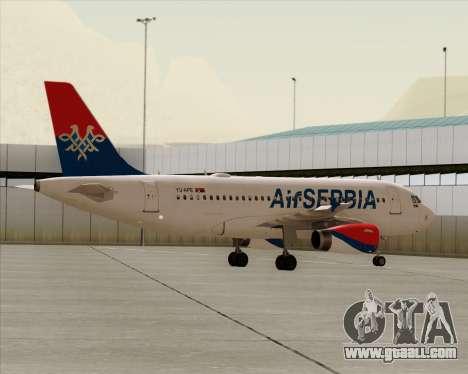Airbus A319-100 Air Serbia for GTA San Andreas bottom view