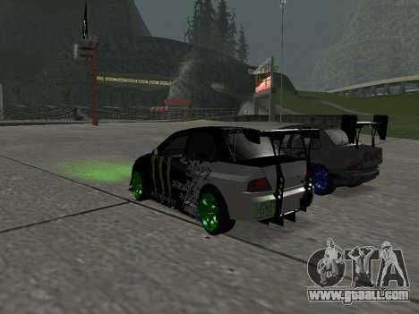 Mitsubishi Lancer Evo 9 Monster Energy for GTA San Andreas back left view