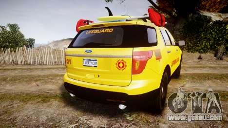 Ford Explorer 2013 Lifeguard Beach [ELS] for GTA 4 back left view