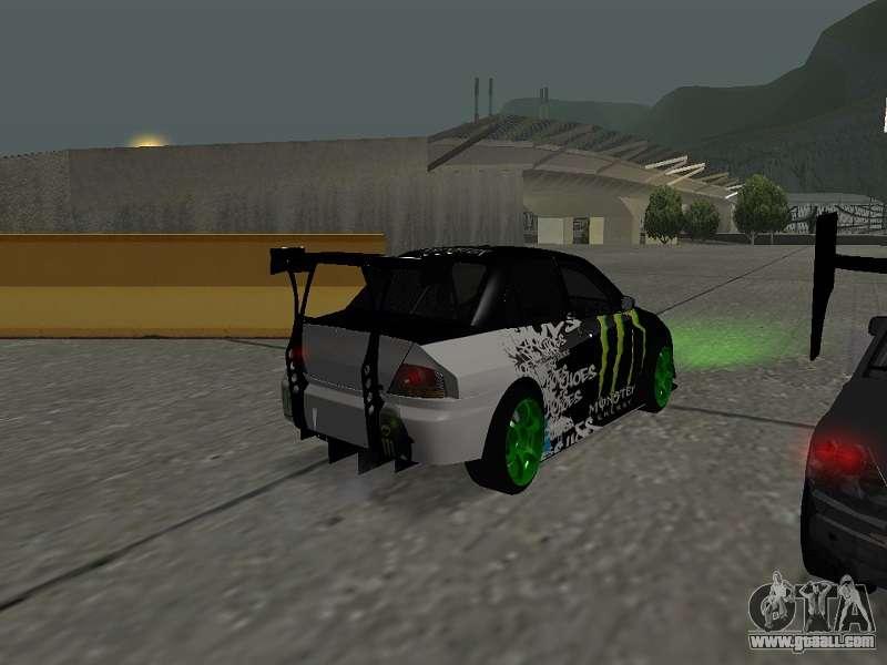 Mitsubishi Lancer Evo 9 Monster Energy For GTA San Andreas Right View