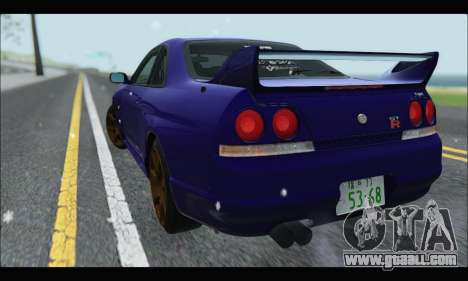Nissan Skyline R33 for GTA San Andreas back left view