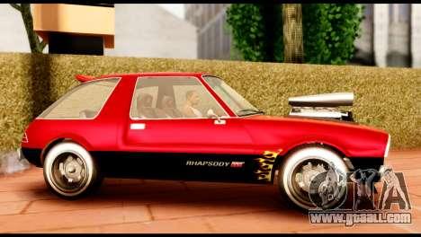 Declasse Rhapsody from GTA 5 IVF for GTA San Andreas left view