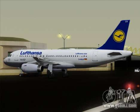 Airbus A319-100 Lufthansa for GTA San Andreas bottom view