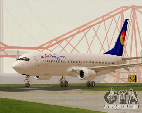 Boeing 737-800 Air Philippines for GTA San Andreas back left view