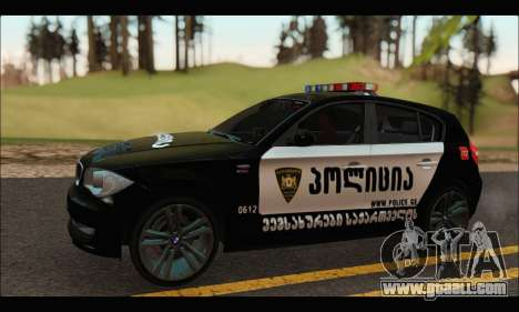 BMW 120i GEO Police for GTA San Andreas left view
