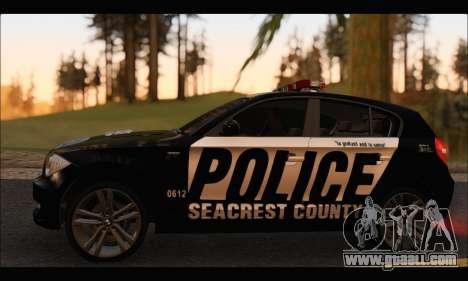 BMW 120i USA Police for GTA San Andreas back left view