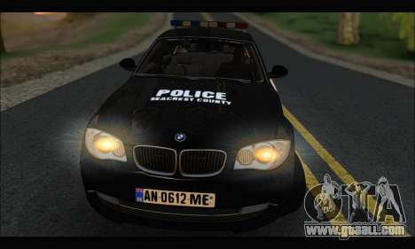 BMW 120i USA Police for GTA San Andreas right view
