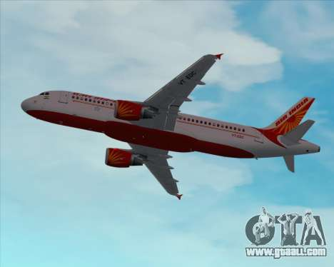 Airbus A320-200 Air India for GTA San Andreas bottom view
