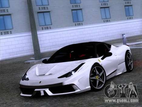 Ferrari 458 Special for GTA San Andreas back left view