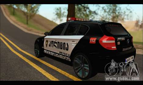 BMW 120i GEO Police for GTA San Andreas back left view