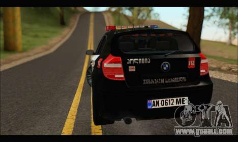 BMW 120i GEO Police for GTA San Andreas right view