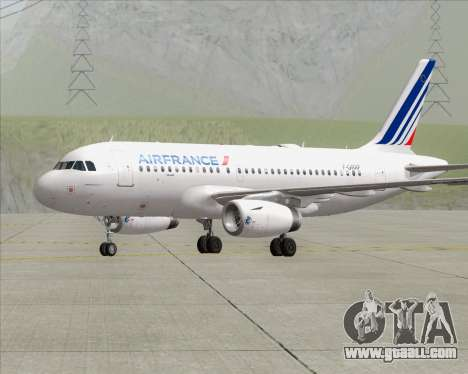 Airbus A319-100 Air France for GTA San Andreas back left view