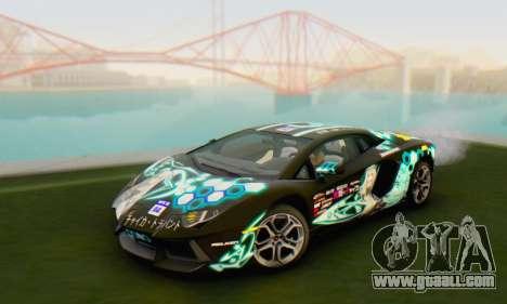 Itasha PJ from Lamborghini Aventador LP700-4 for GTA San Andreas back left view