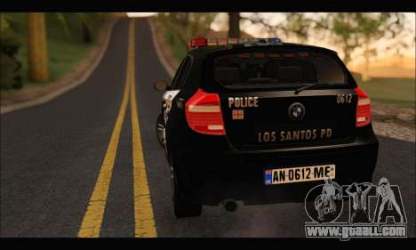 BMW 120i USA Police for GTA San Andreas back view