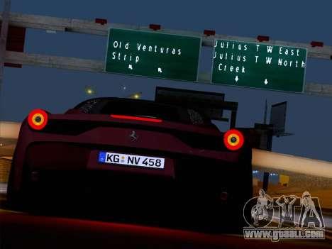 Ferrari 458 Special for GTA San Andreas inner view
