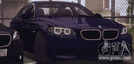 BMW M550d 2014 for GTA San Andreas back left view