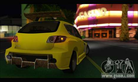 Mazda Speed 3 Tuning for GTA San Andreas back left view