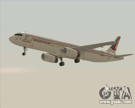 Airbus A321-200 French Government for GTA San Andreas back left view