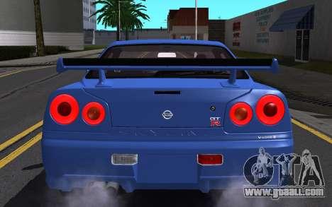 Nissan Skyline GT-R V Spec II 2002 for GTA San Andreas engine