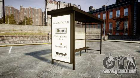 Advertising Windows 95 at bus stops for GTA 4