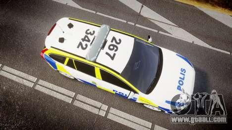 Volvo V60 Swedish Police [ELS] for GTA 4 right view