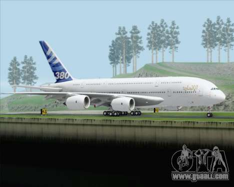 Airbus A380-800 F-WWDD Etihad Titles for GTA San Andreas right view