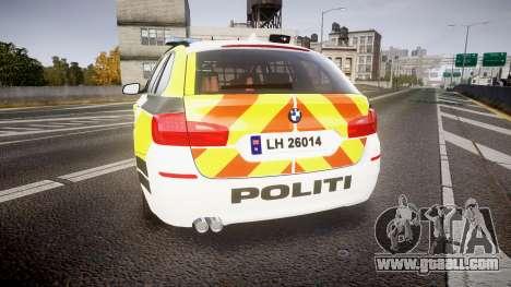 BMW 530d F11 Norwegian Police [ELS] for GTA 4 back left view