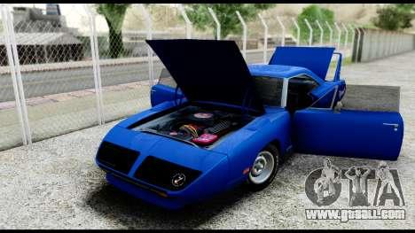 Plymouth Roadrunner Superbird RM23 1970 IVF for GTA San Andreas inner view