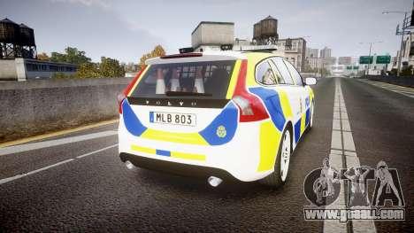 Volvo V60 Swedish Police [ELS] for GTA 4 back left view