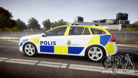 Volvo V60 Swedish Police [ELS] for GTA 4 left view