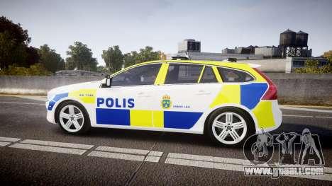 Volvo V60 Swedish Police [ELS] for GTA 4 left view
