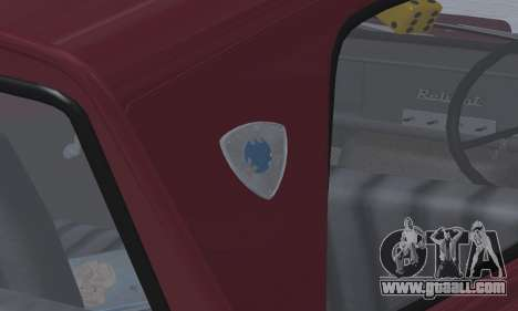 Reliant Regal Sedan for GTA San Andreas inner view