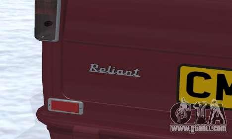 Reliant Regal Sedan for GTA San Andreas interior