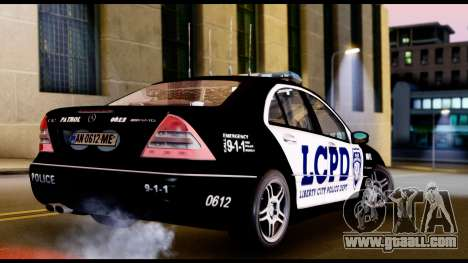 Mercedes-Benz C32 AMG Police for GTA San Andreas back left view