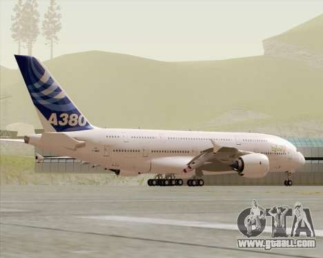 Airbus A380-800 F-WWDD Etihad Titles for GTA San Andreas upper view