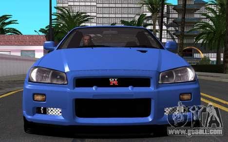Nissan Skyline GT-R V Spec II 2002 for GTA San Andreas upper view