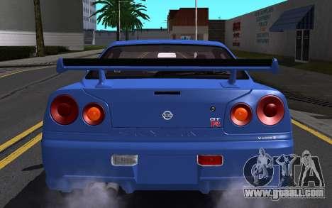 Nissan Skyline GT-R V Spec II 2002 for GTA San Andreas interior