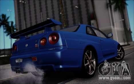 Nissan Skyline GT-R V Spec II 2002 for GTA San Andreas back left view